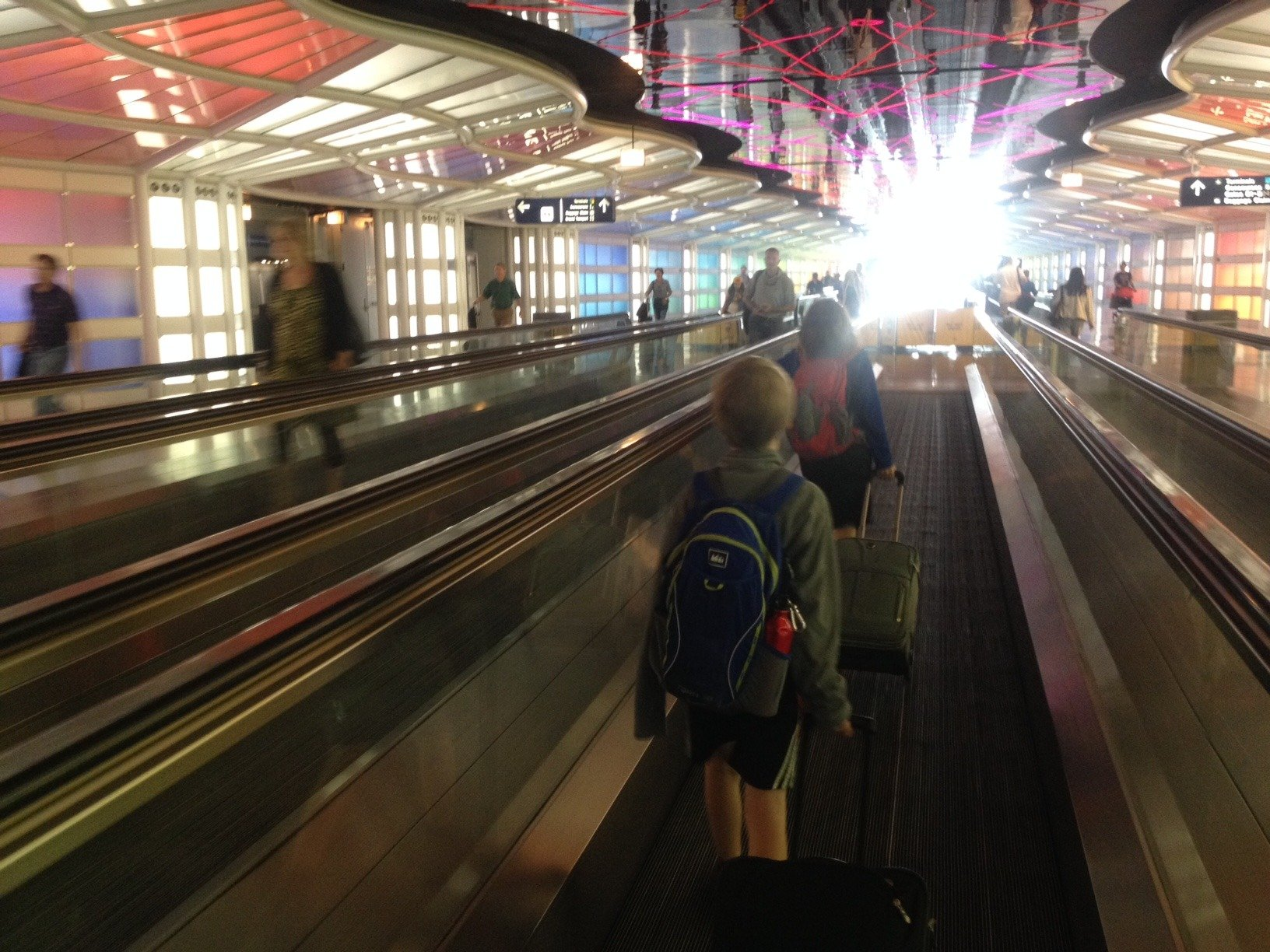 California to DC via Montana: Moving sidewalk in Chicagos OHare airport