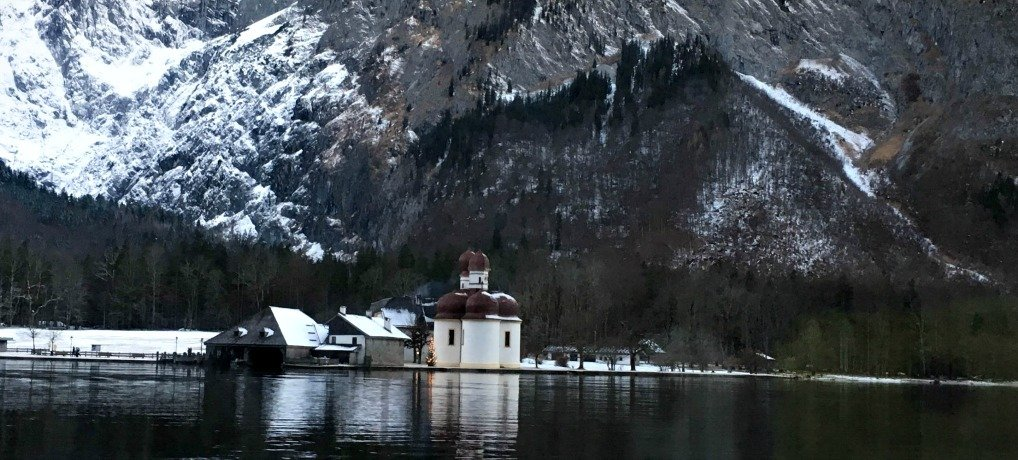 much-photographed baroque church of St. Bartholomä , Berchtesgaden National Park, Germany
