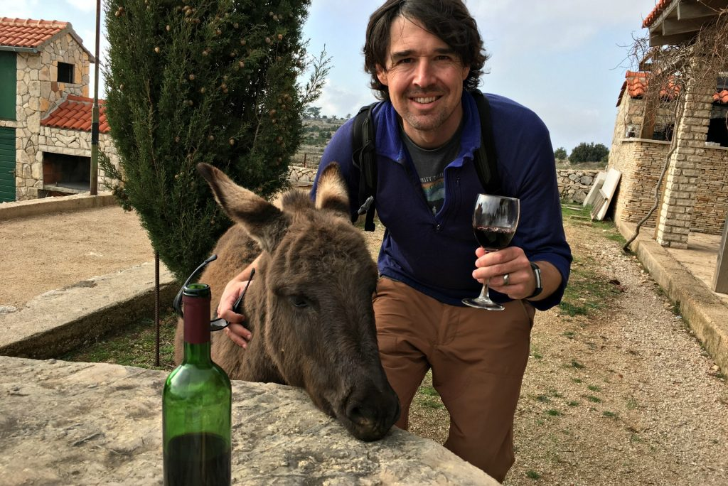 drinking wine with donkeys in croatia