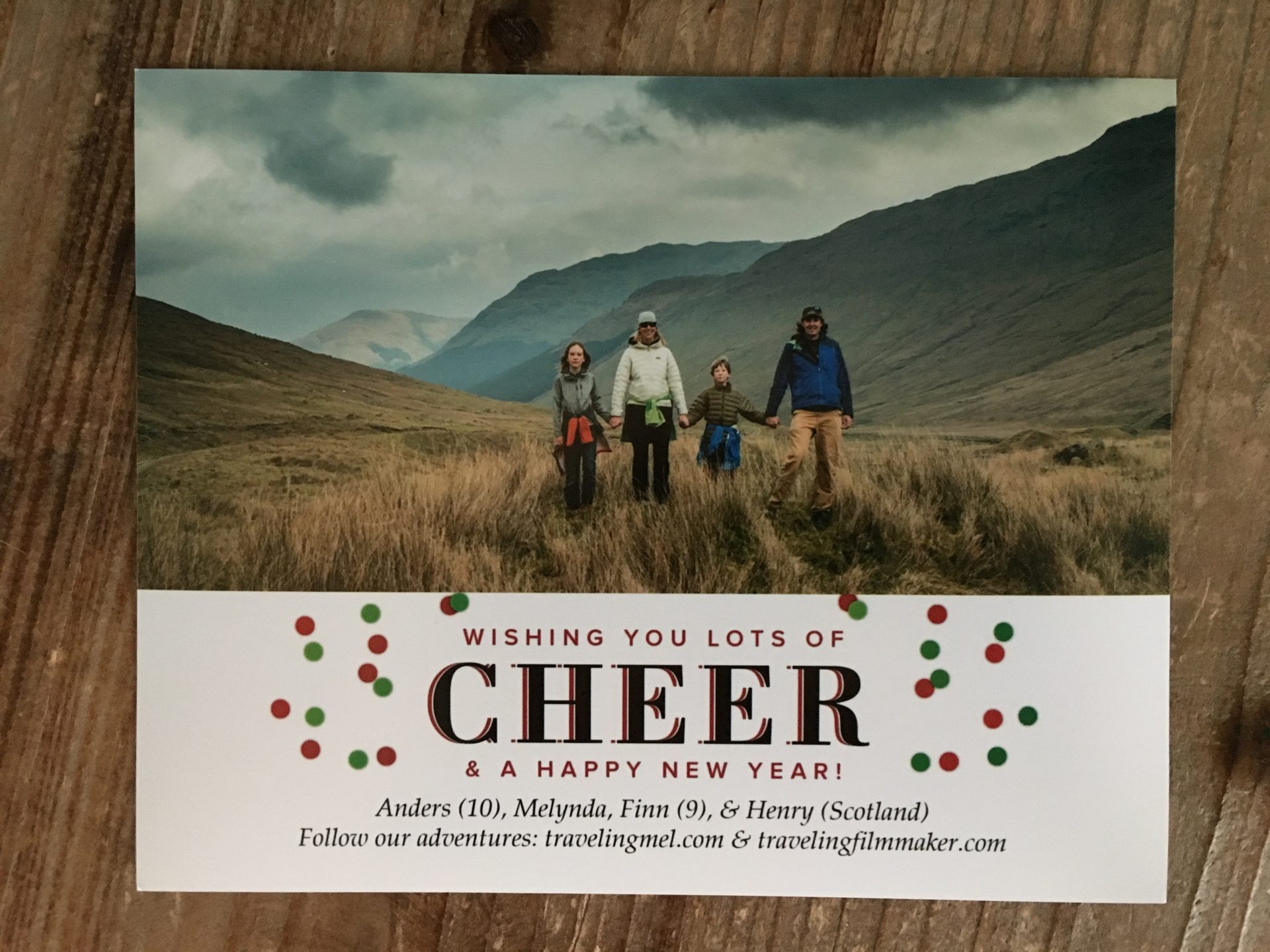 christmas card from a travel family