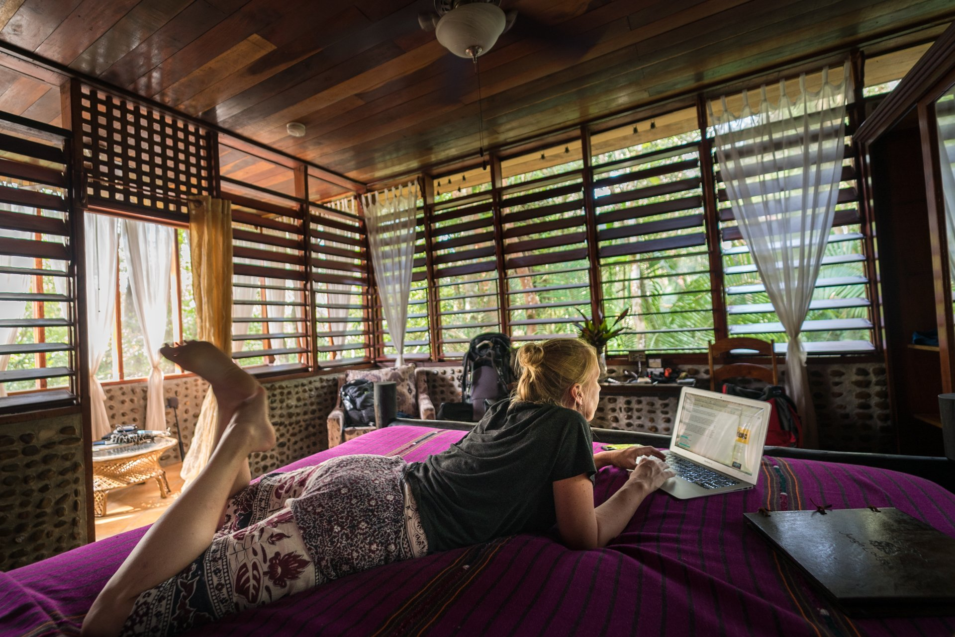 Hard at work in our bedroom. San Ignacio belize hotels