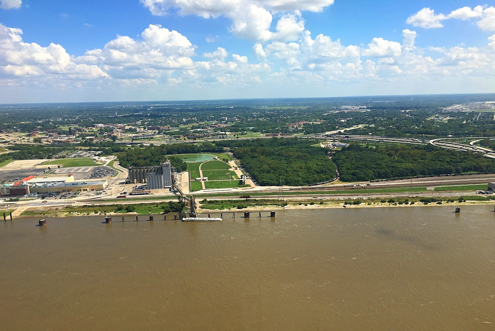 View of the Mississippi River from the top of the arch.