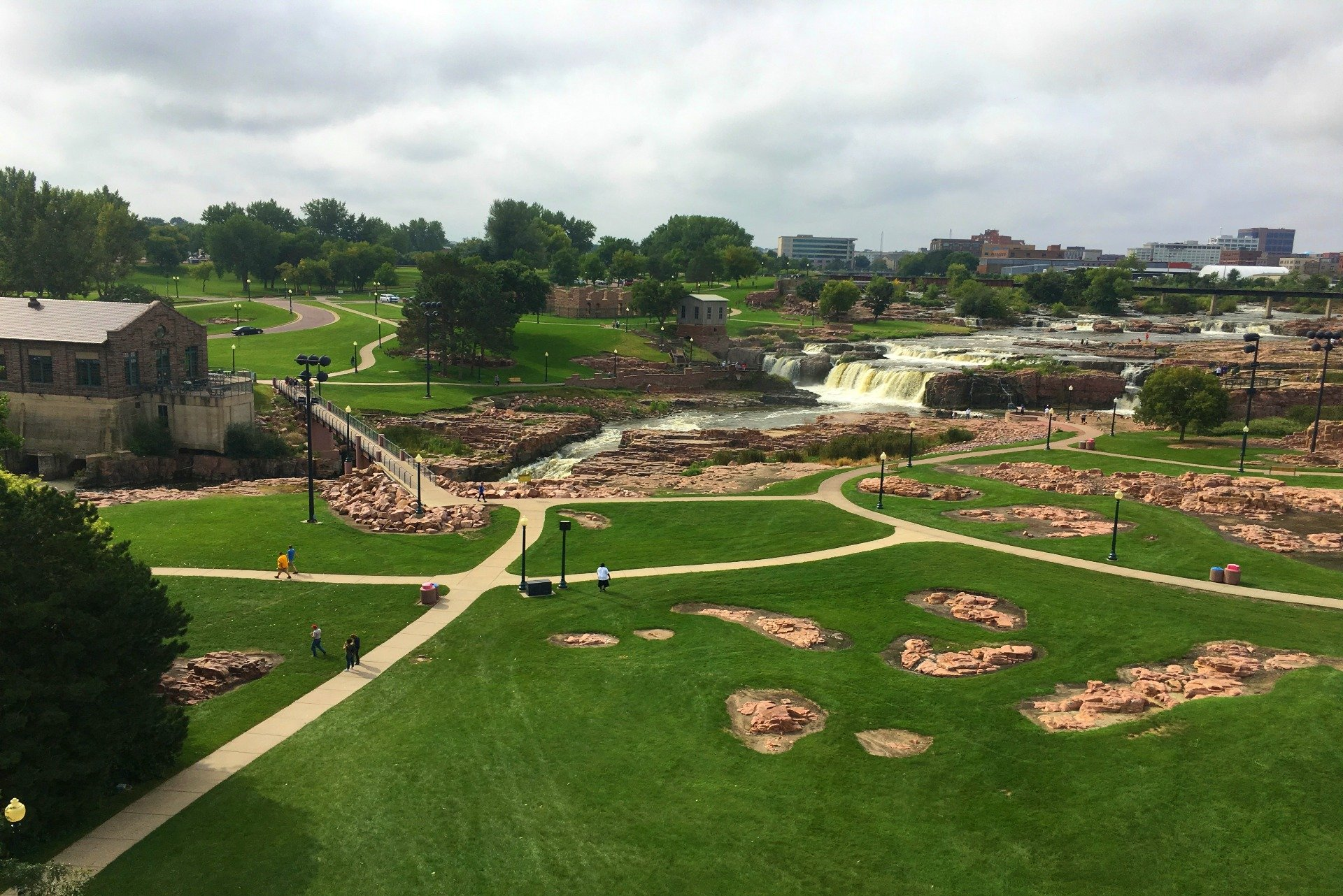 Overview of Falls Park in Sioux Falls South Dakota
